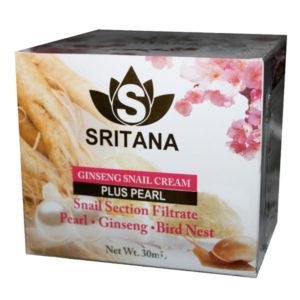 Крем для лица с женьшенем, улиточной слизью и жемчугом Sritana Ginseng Snail Pearl cream